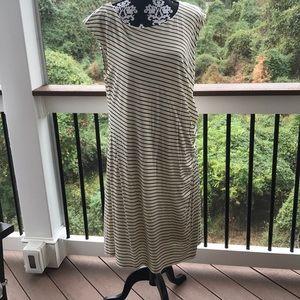 LOFT Cream/Black Striped Ruched Dress XL EUC